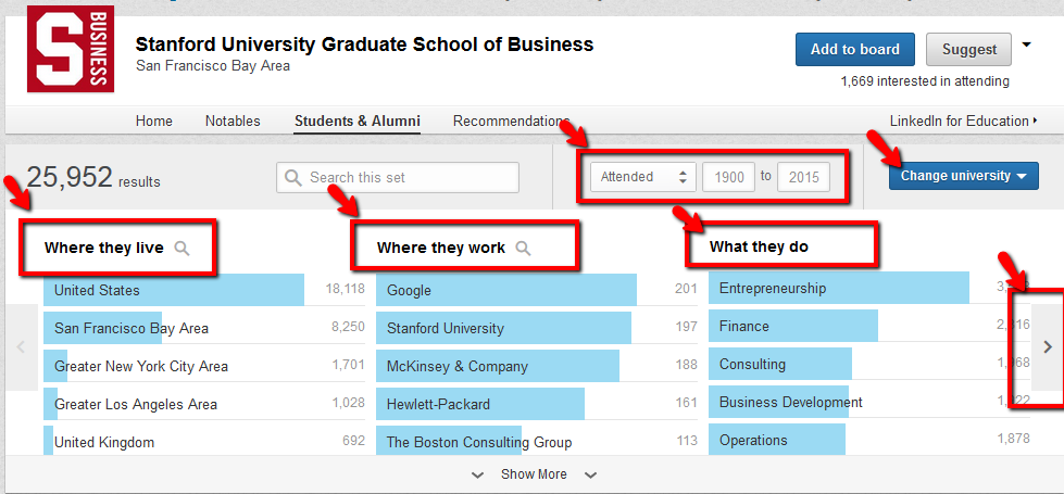 Using LinkedIn Alumni Search feature