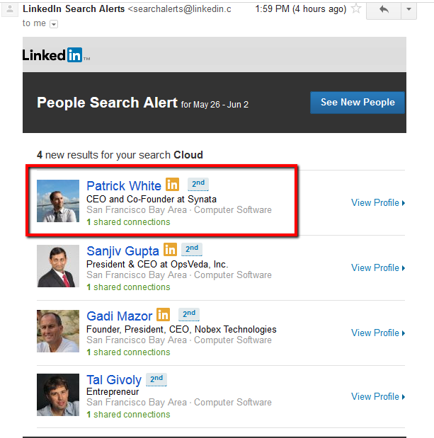 LinkedIn Saved Searches - use for lead generation