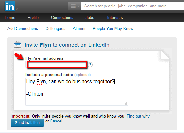 linkedin ask for email address to connect