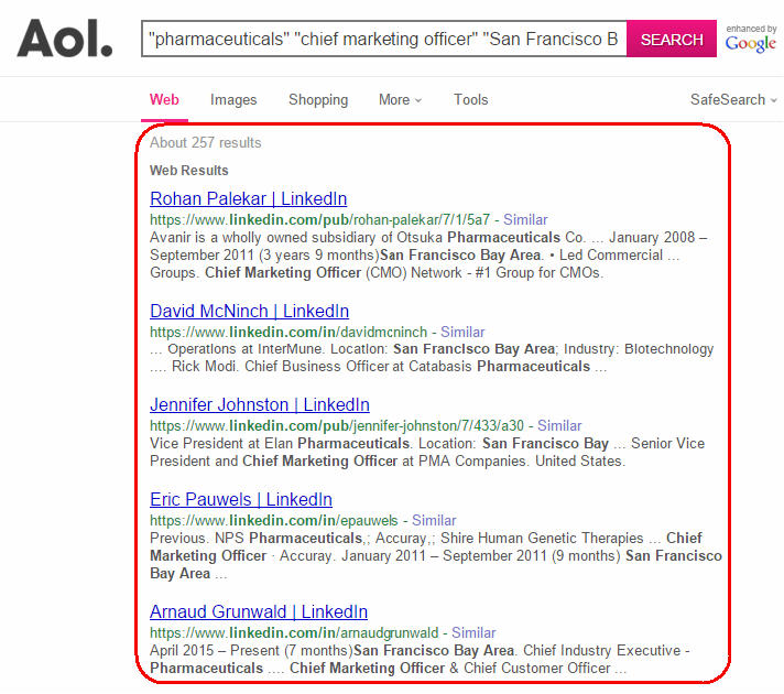 search people profiles from AOL