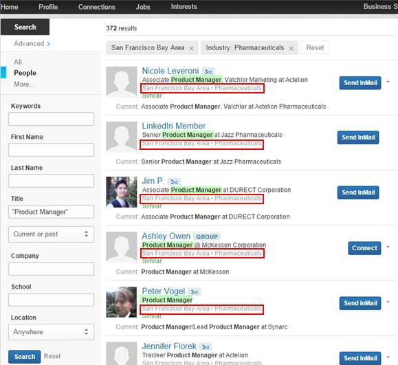 LinkedIn Advanced Search Results