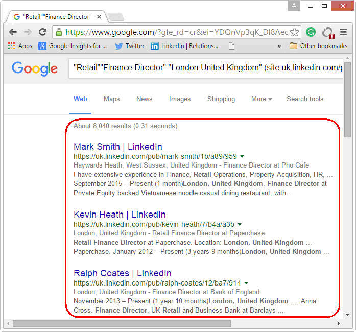 How to search Google for Finance Director profiles
