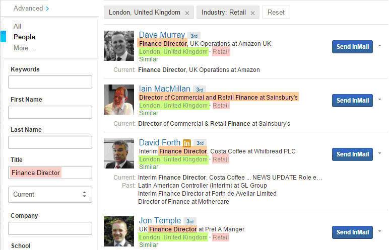 Search C-level profiles via LinkedIn Advanced Search