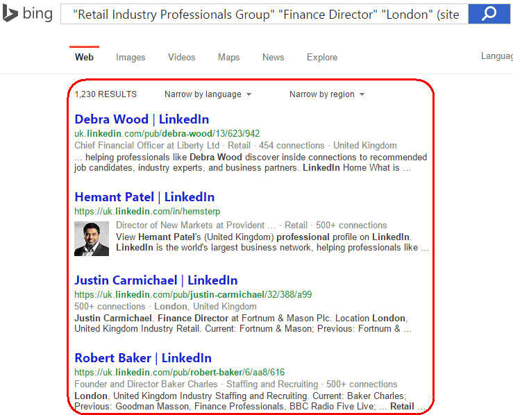 How to search LinkedIn Groups through Bing