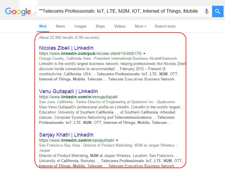 search linkedin groups through google