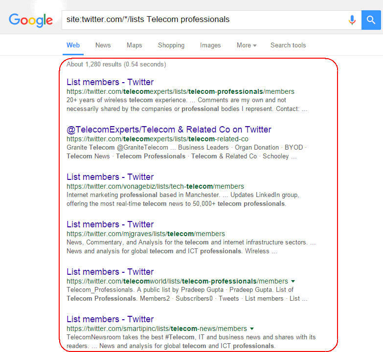 search prospects from Twitter