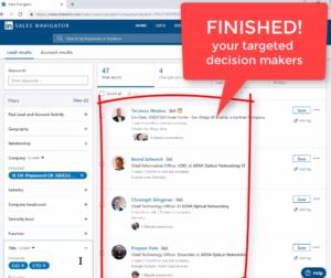 Your decision maker list in LinkedIn Sales Navigator