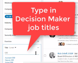 How to type in Job Titles in LinkedIn Sales Navigator
