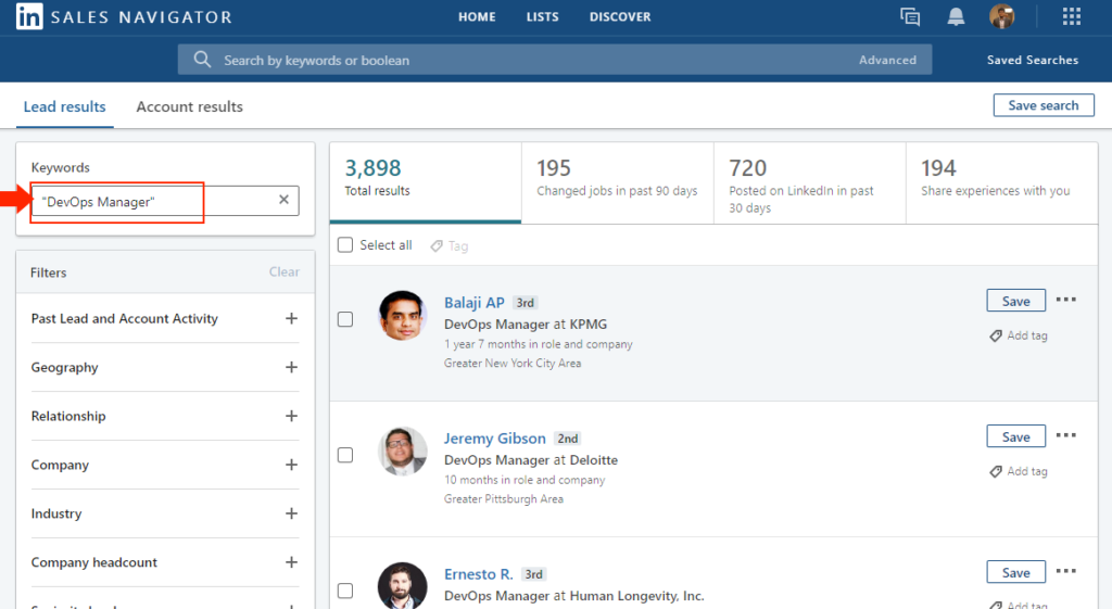 How to search in LinkedIn Sales Navigator