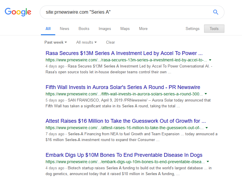 Searching Series A funding companies in google