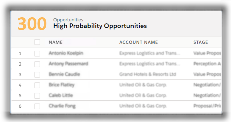 300 high probability opportunities